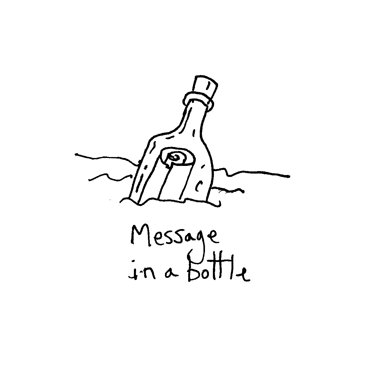 message in a bottle cartoon doodle