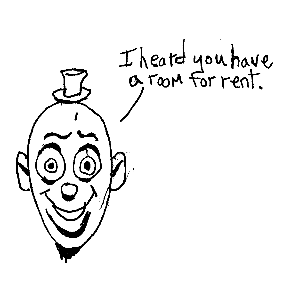 clown rent cartoon doodle
