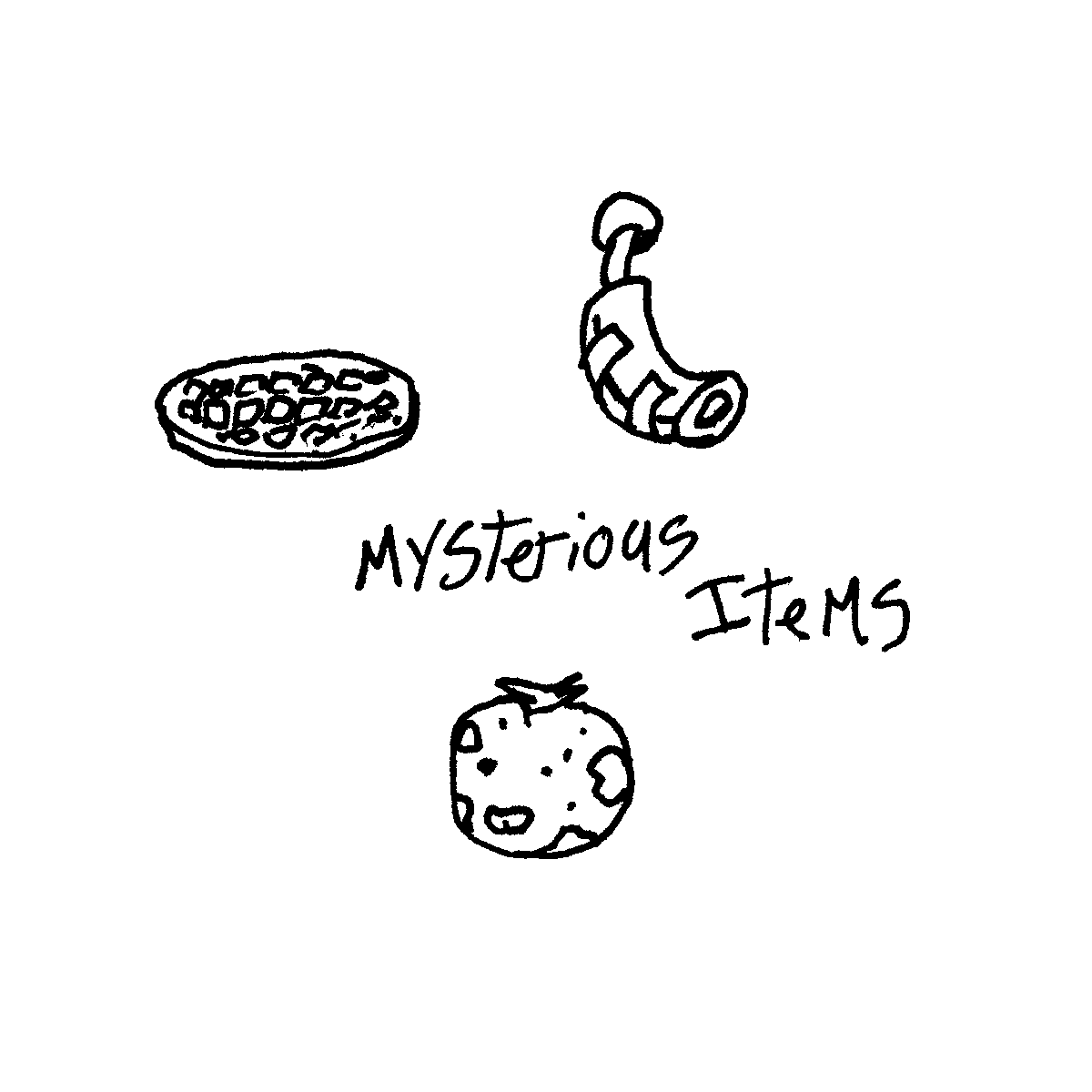 mysterious items cartoon doodle