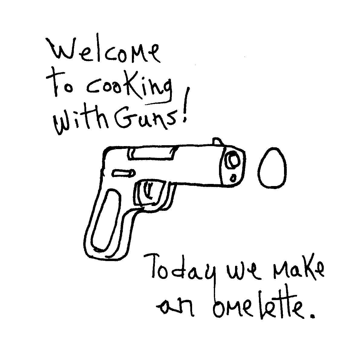 cooking with guns cartoon doodle