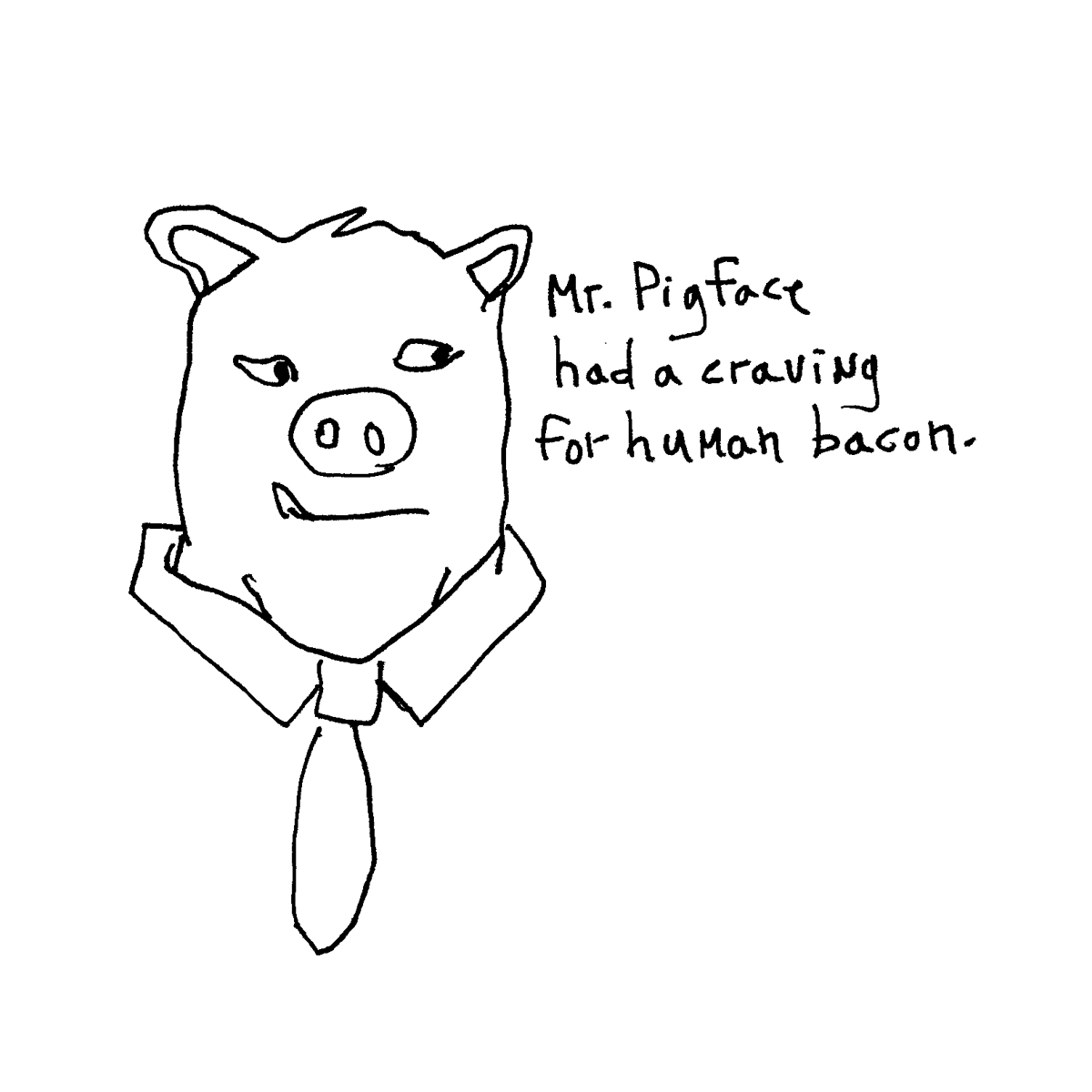 mr pig face cartoon doodle