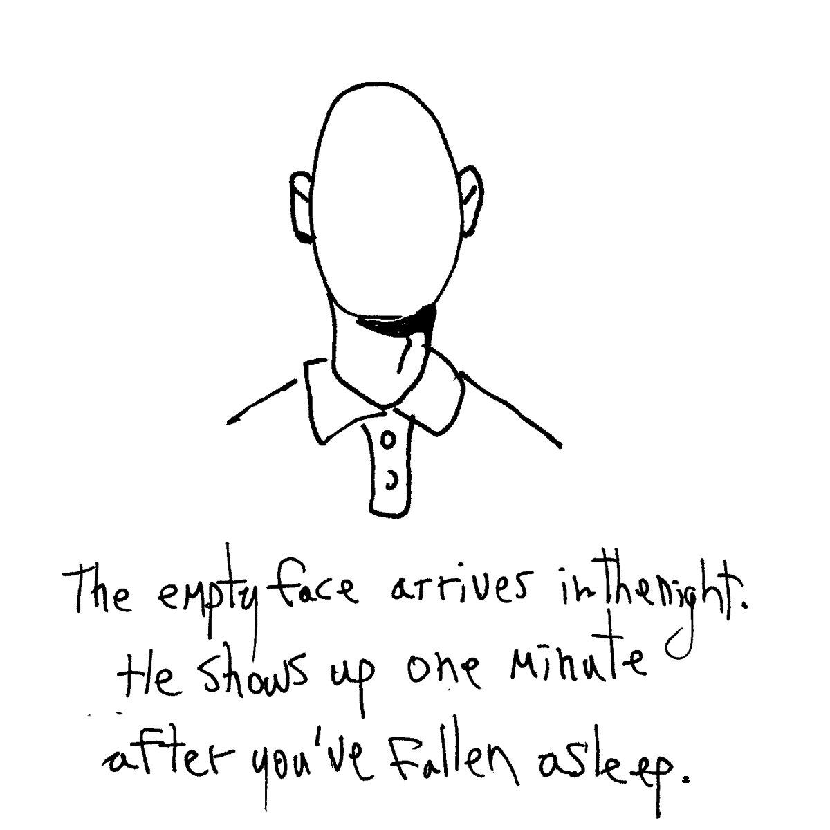 the empty face cartoon doodle