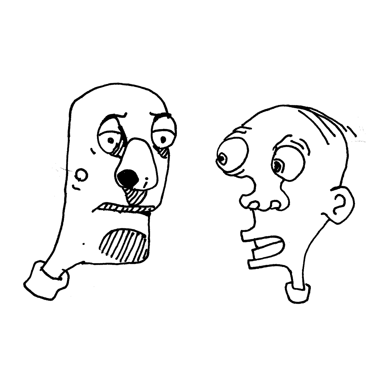 two heads cartoon doodle