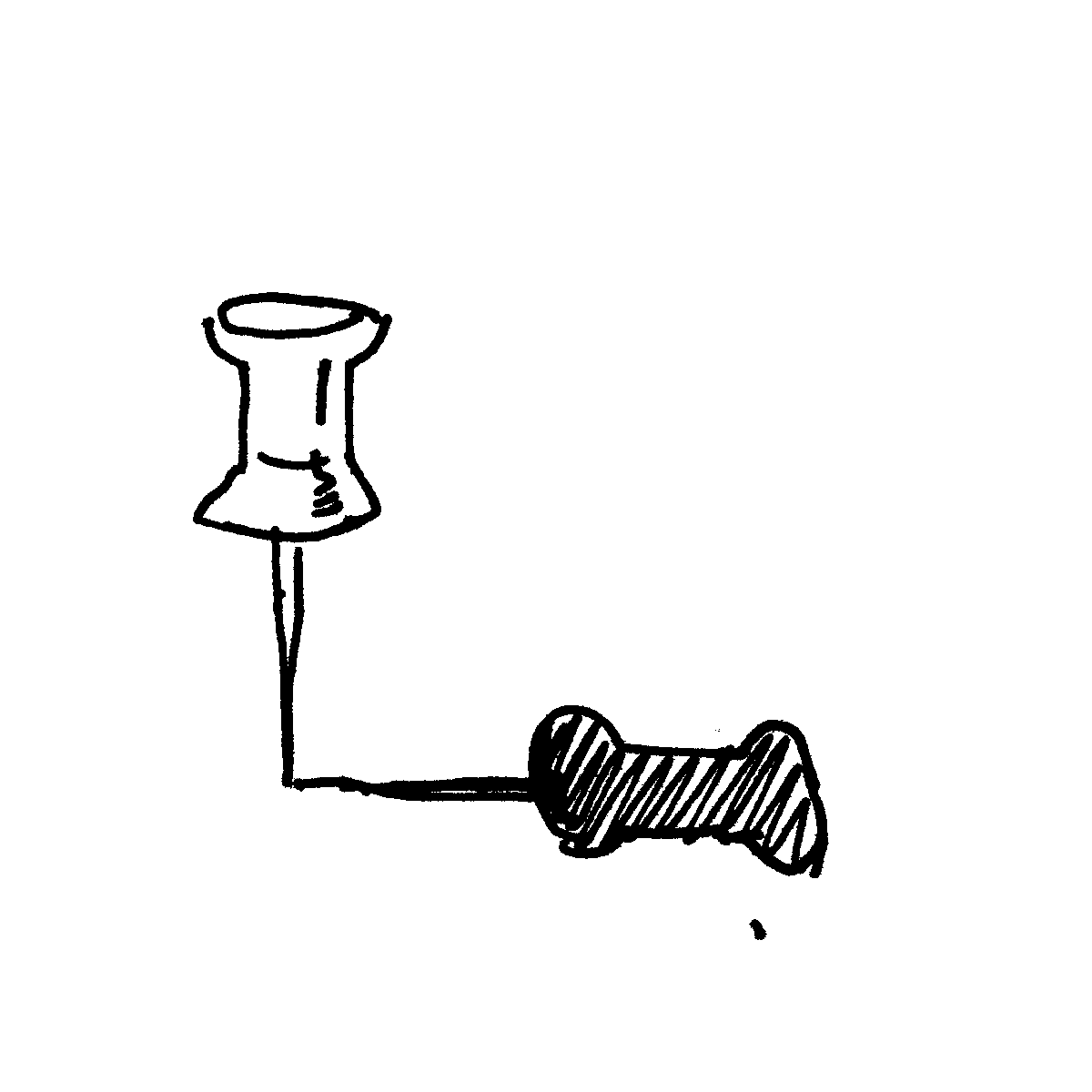 push pin cartoon doodle