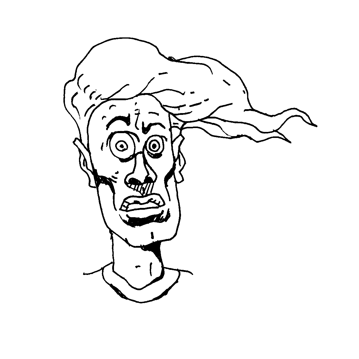 crazy hair cartoon doodle
