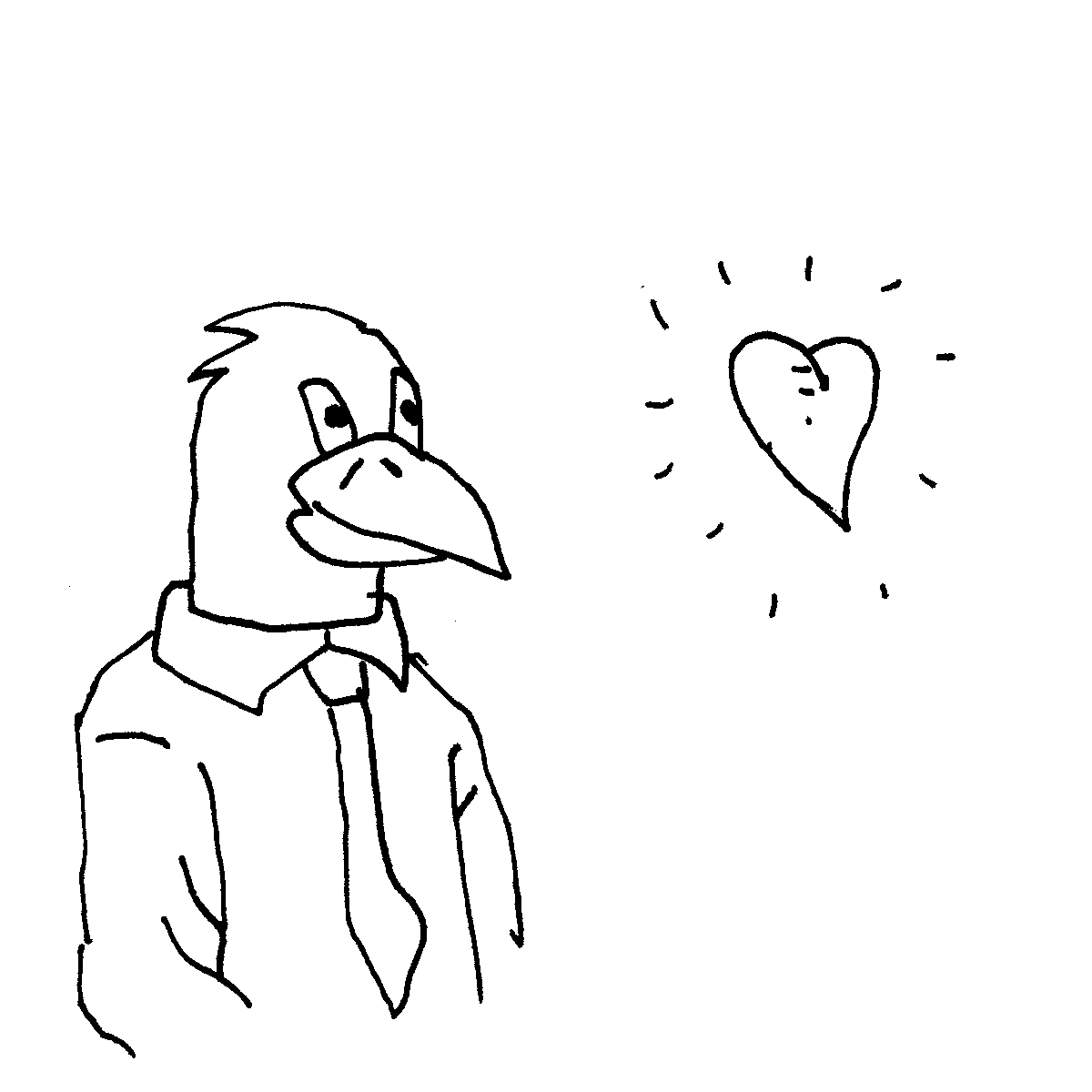 eagle love cartoon doodle