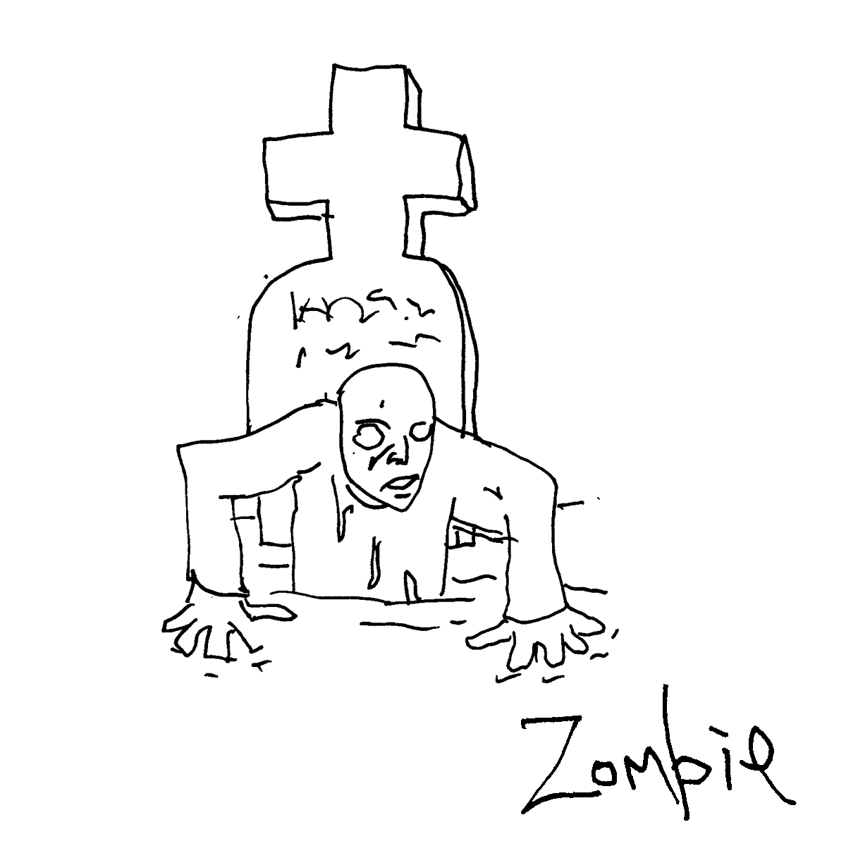 zombie emerges cartoon doodle