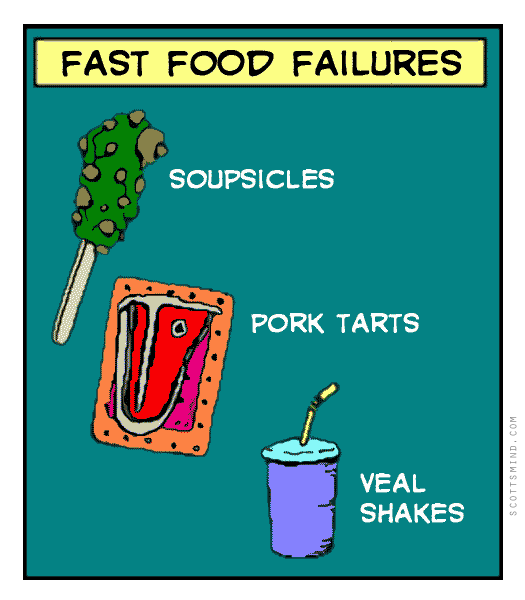 Funny fast food cartoon - soupsicles, pork tarts, veal shakes