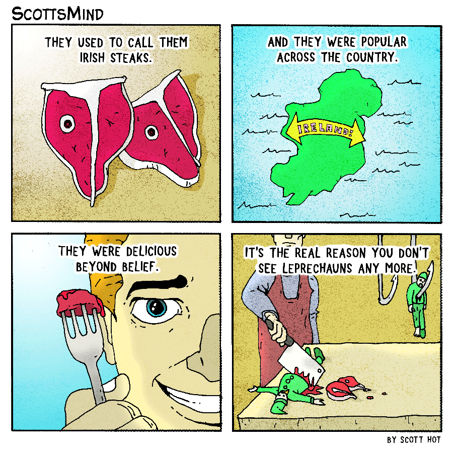 Irish Steaks Cartoon
