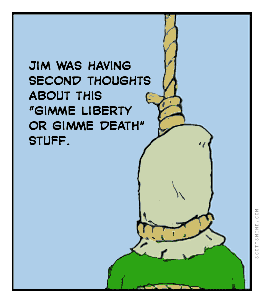 Funny liberty or death cartoon