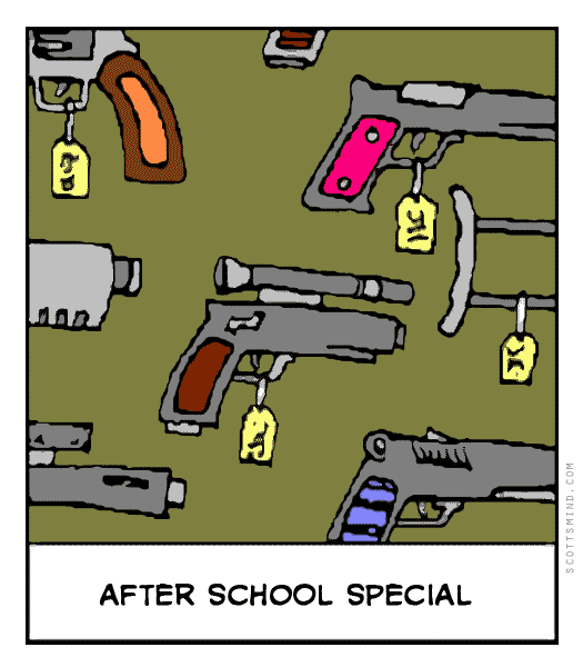 Funny gun cartoon