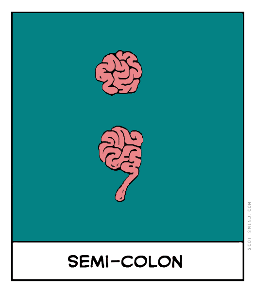 Funny semi-colon cartoon