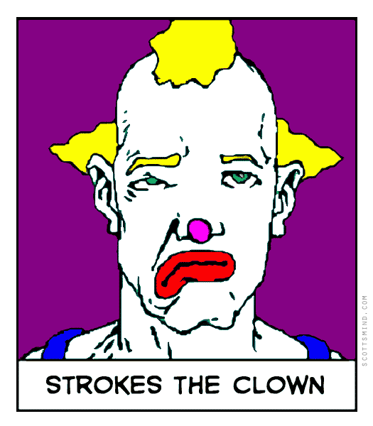 Strokes the clown cartoon